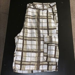 Plaid cargo shorts. Size 38.